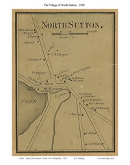 North Sutton Village, New Hampshire 1858 Old Town Map Custom Print - Merrimack Co.
