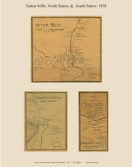 Sutton Mills, North Sutton, and South Sutton Villages, New Hampshire 1858 Old Town Map Custom Print - Merrimack Co.