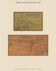 Wilmot Center and Wilmot Flat Villages, New Hampshire 1858 Old Town Map Custom Print - Merrimack Co.