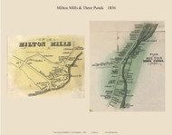 Milton Mills and Three Ponds Villages, New Hampshire 1856 Old Town Map Custom Print - Strafford Co.