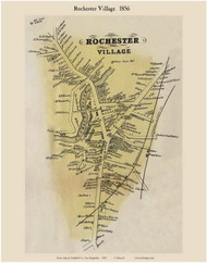 Rochester Village, New Hampshire 1856 Old Town Map Custom Print - Strafford Co.