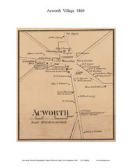 Acworth Village, New Hampshire 1860 Old Town Map Custom Print - Sullivan Co.