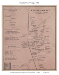 Charlestown Village, New Hampshire 1860 Old Town Map Custom Print - Sullivan Co.