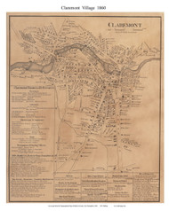 Claremont Village, New Hampshire 1860 Old Town Map Custom Print - Sullivan Co.