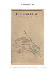 Cornish Flat Village, New Hampshire 1860 Old Town Map Custom Print - Sullivan Co.