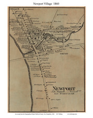Newport Village, New Hampshire 1860 Old Town Map Custom Print - Sullivan Co.
