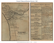 Newport Village and Business Directory, New Hampshire 1860 Old Town Map Custom Print - Sullivan Co.