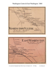 Washington Centre and East Washington Villages, New Hampshire 1860 Old Town Map Custom Print - Sullivan Co.