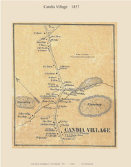 Candia Village, New Hampshire 1857 Old Town Map Custom Print - Rockingham Co.