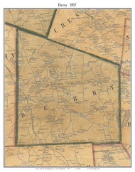 Derry, New Hampshire 1857 Old Town Map Custom Print - Rockingham Co.