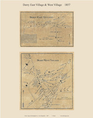 Derry East Village and Derry West Village, New Hampshire 1857 Old Town Map Custom Print - Rockingham Co.