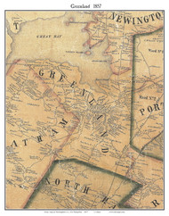 Greenland, New Hampshire 1857 Old Town Map Custom Print - Rockingham Co.