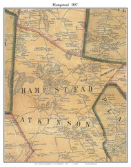 Hampstead, New Hampshire 1857 Old Town Map Custom Print - Rockingham Co.