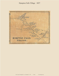 Hampton Falls Village, New Hampshire 1857 Old Town Map Custom Print - Rockingham Co.