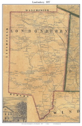 Londonderry, New Hampshire 1857 Old Town Map Custom Print - Rockingham Co.