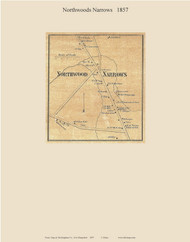 Northwood Narrows Village, New Hampshire 1857 Old Town Map Custom Print - Rockingham Co.