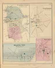 Camden City, City of Woodbury, Atlantic City, and Mount Holly, New Jersey 1872 Old Town Map Reprint - State Atlas
