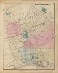 Elizabeth City, New Jersey 1872 Old Town Map Reprint - State Atlas