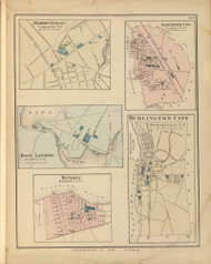 Haddonfield, Gloucester City, Mays Landing, Beverly, and Burlington City, New Jersey 1872 Old Town Map Reprint - State Atlas