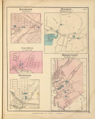 Manchester, Madison, Toms Rier, Bricksburg, and Bordentown, New Jersey 1872 Old Town Map Reprint - State Atlas