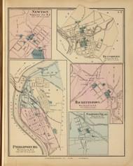 Newton, Belvidere, Phillipsburg, Washington Village, and Hackettstown, New Jersey 1872 Old Town Map Reprint - State Atlas