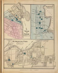Passaic Village, Hackensack, and Rutherford Park, New Jersey 1872 Old Town Map Reprint - State Atlas