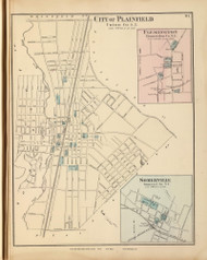 Plainfield City, Flemington, and Somerville, New Jersey 1872 Old Town Map Reprint - State Atlas