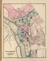 City of Trenton and Town of Chambersburg, New Jersey 1872 Old Town Map Reprint - State Atlas