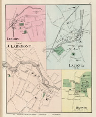 Claremont, Laconia, Lebanon, and Hanover, New Hampshire 1877 Old Map Reprint - Comstock & Cline State Atlas - Sullivan Co.