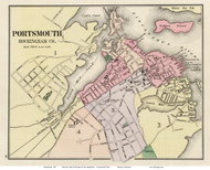 Portsmouth, New Hampshire 1877 Old Map Reprint - Comstock & Cline State Atlas - Rockingham Co.