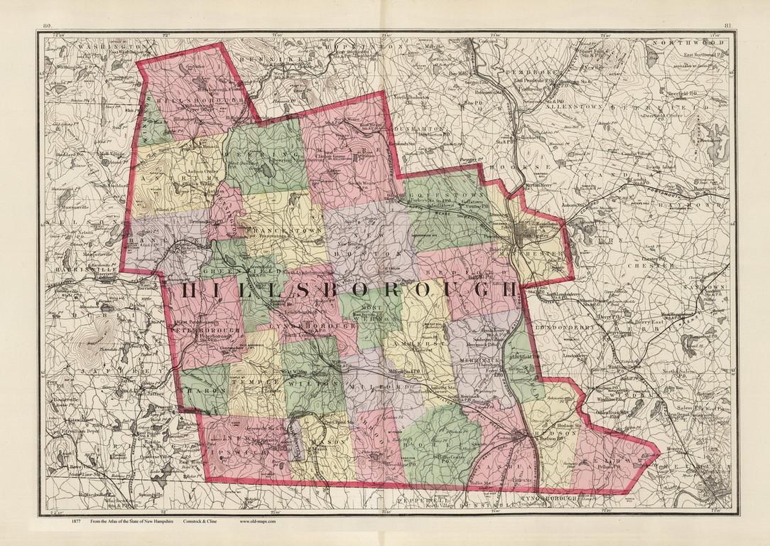 Hillsboro County, New Hampshire 1877 Old Map Reprint - Comstock ...