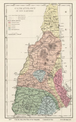 New Hampshire Climatology Map - 1877 Old Map Reprint - Comstock & Cline State Atlas of NH