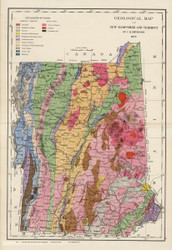 Geological Map of New Hampshire and Vermont - 1877 Old Map Reprint - Comstock & Cline State Atlas of NH