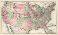 Railroad Map of the United States - 1877 Old Map Reprint - Comstock & Cline State Atlas of NH