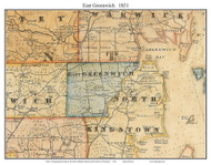 East Greenwich, Rhode Island 1831 - Old Town Map Custom Print - 1831 State