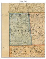 Foster, Rhode Island 1831 - Old Town Map Custom Print - 1831 State