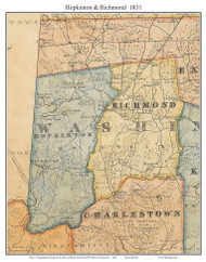 Hopkinton & Richmond, Rhode Island 1831 - Old Town Map Custom Print - 1831 State