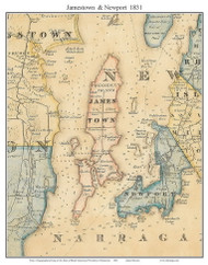 Jamestown & Newport, Rhode Island 1831 - Old Town Map Custom Print - 1831 State