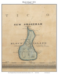 New Shoreham, Block Island, Rhode Island 1831 - Old Town Map Custom Print - 1831 State