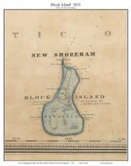 New Shoreham, Block Island, Rhode Island 1831 - Old Town Map Custom Print - 1831 State