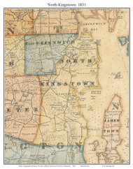 North Kingstown, Rhode Island 1831 - Old Town Map Custom Print - 1831 State