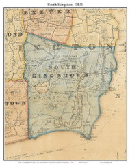 South Kingstown, Rhode Island 1831 - Old Town Map Custom Print - 1831 State