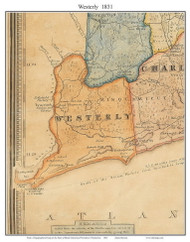 Westerly, Rhode Island 1831 - Old Town Map Custom Print - 1831 State