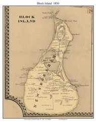 Block Island, Rhode Island 1850 - Old Town Map Custom Print - Newport Co.