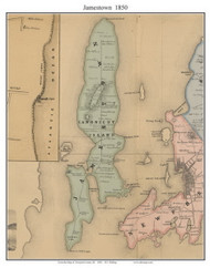 Jamestown, Rhode Island 1850 - Old Town Map Custom Print - Newport Co.