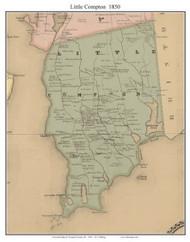 Little Compton, Rhode Island 1850 - Old Town Map Custom Print - Newport Co.