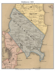 Middletown, Rhode Island 1850 - Old Town Map Custom Print - Newport Co.