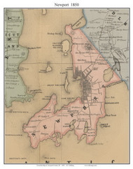 Newport, Rhode Island 1850 - Old Town Map Custom Print - Newport Co.