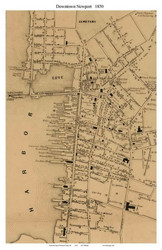 Newport City Closeup, Rhode Island 1850 - Old Town Map Custom Print - Newport Co.