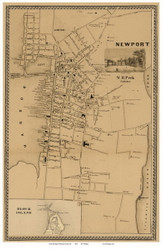 Newport City, Rhode Island 1850 - Old Town Map Custom Print - Newport Co.